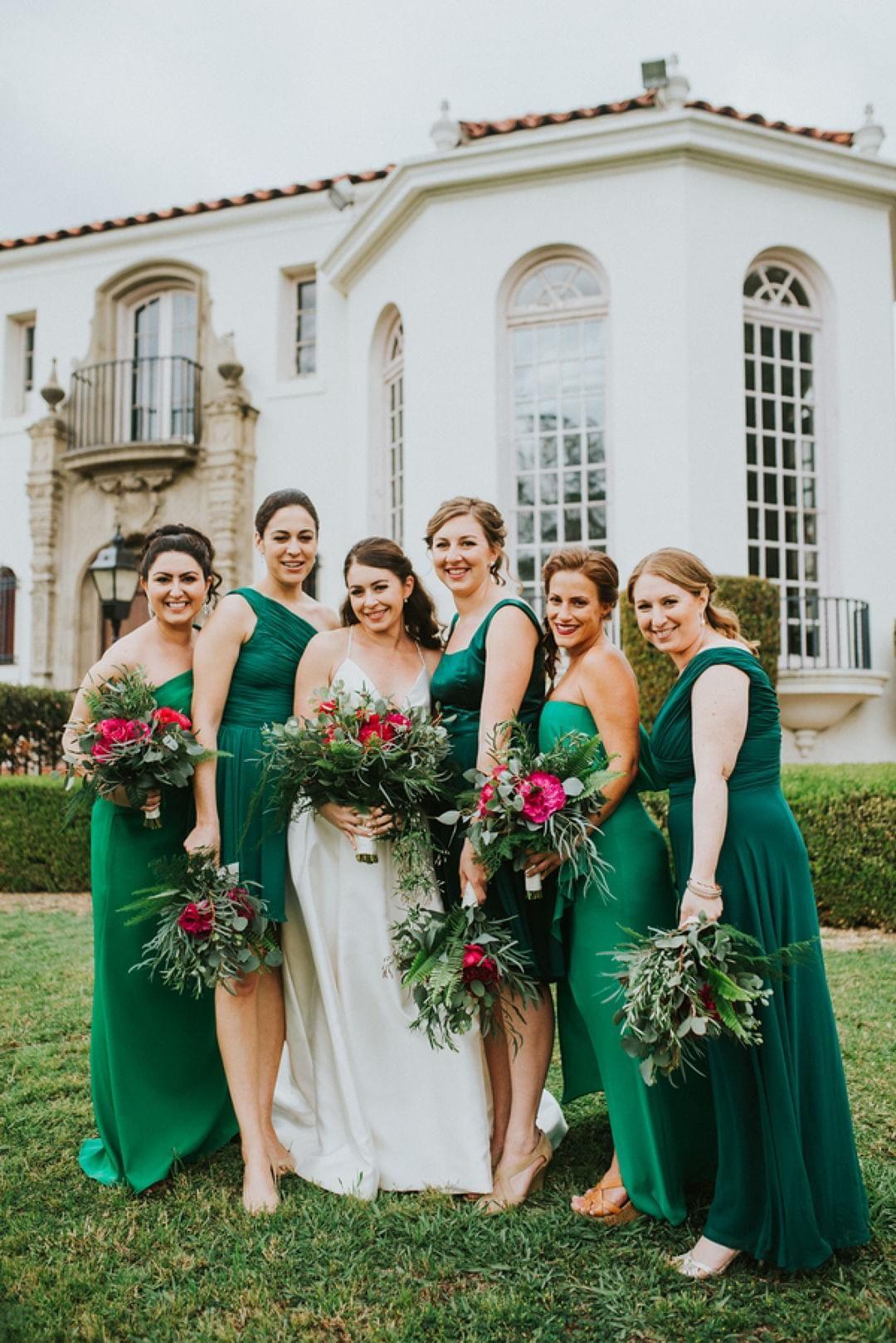 Romantic Al Fresco Garden Fete Orange County Ca Wedding Bridesmaid Dress Colors Mismatched Bridesmaids