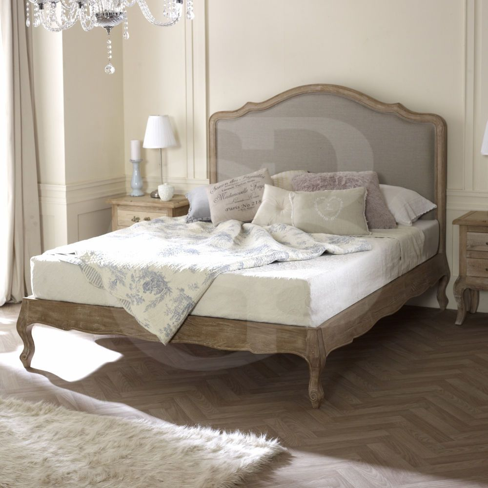 Egb french solid limed oak linen upholstered bed in double king
