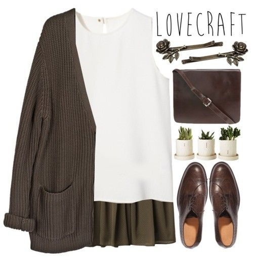 cosmiclovestyle:  LOVECRAFT by evangeline-lily featuring a brown bag ...clearly you are a little confused as to who Lovecraft was.