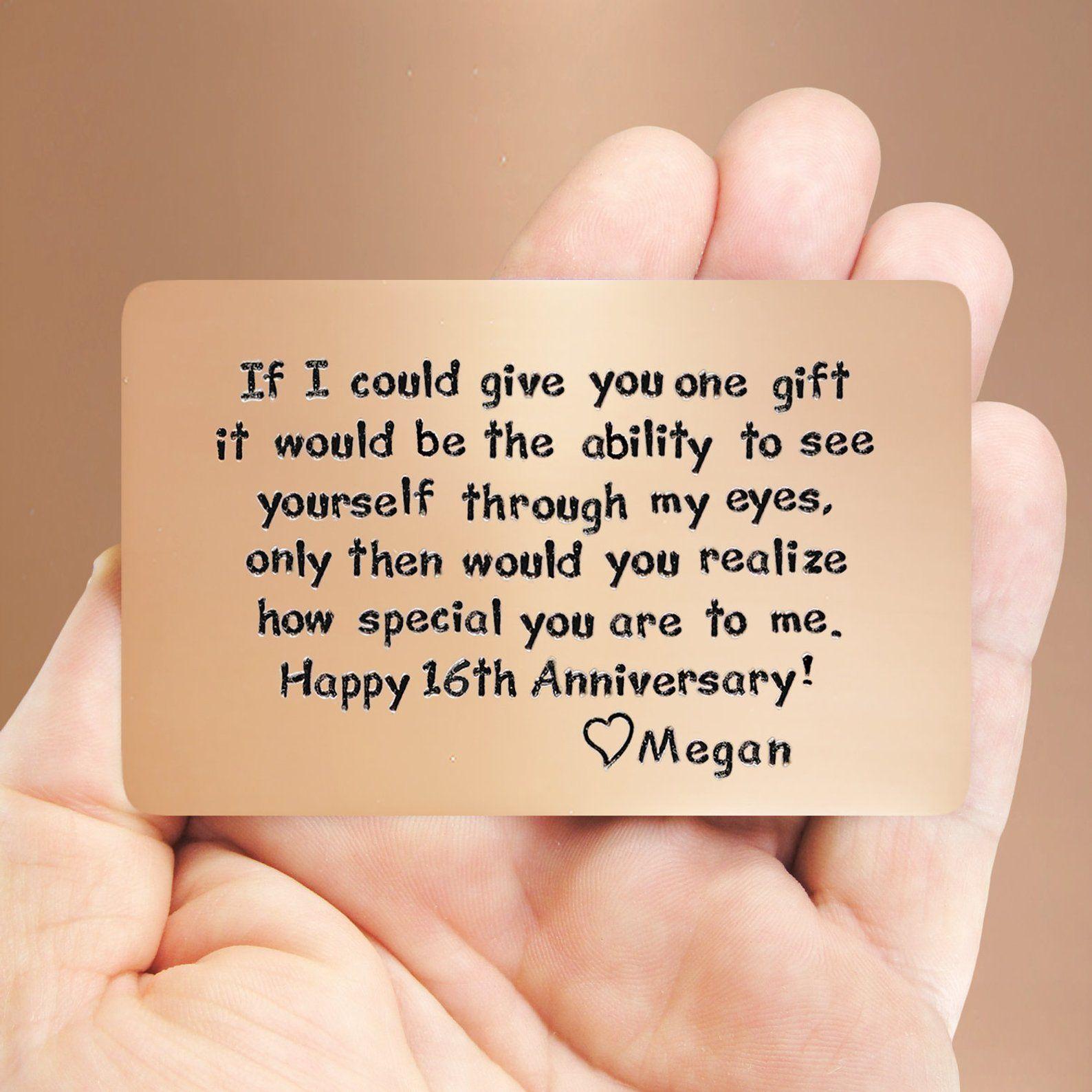Mens Gift Idea 16th Anniversary Unique Gift For Him Etsy 22nd Anniversary Anniversary Cards For Him Anniversary Ideas For Him