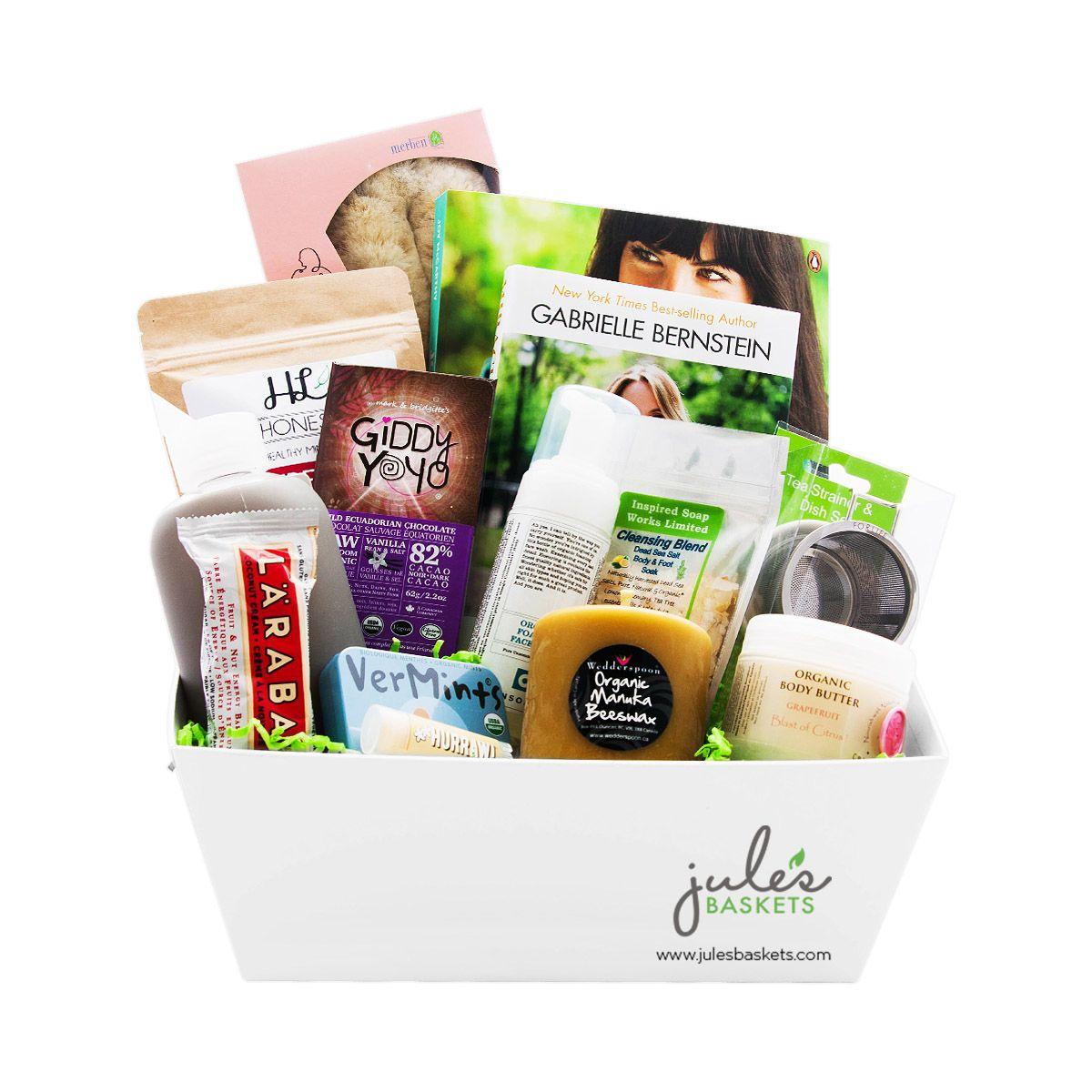 Wellness Basket 227 99 By Jule S Baskets Treats Organic Glutenfree Giftbaskets Gifting Heathconscious Health Conscious Gifts Wellness Gifts Wellness