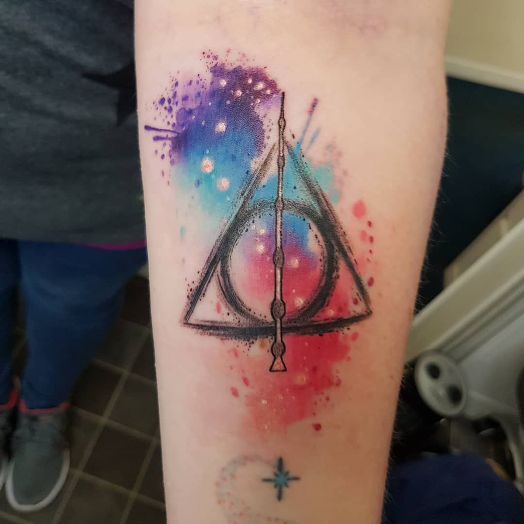 Filled My Cancellation With This Little Deathly Hallows Thanks Charlotte Watercolourtattoos Tattoos Harry Potter Tattoo Small Harry Potter Tattoo Unique