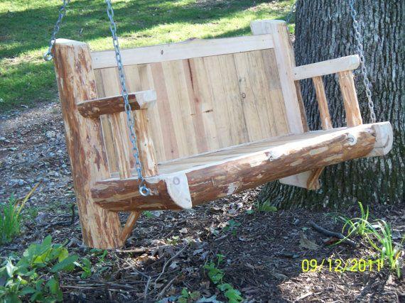 Red Pine Log Porch Swing By Ravenredpine On Etsy 525 00 Porch Swing Backyard Fun Outdoor Swing