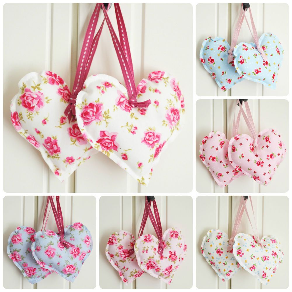 Superb Handmade Fabric Hanging Hearts Set of Two Vintage Wedding Shabby Chic Floral