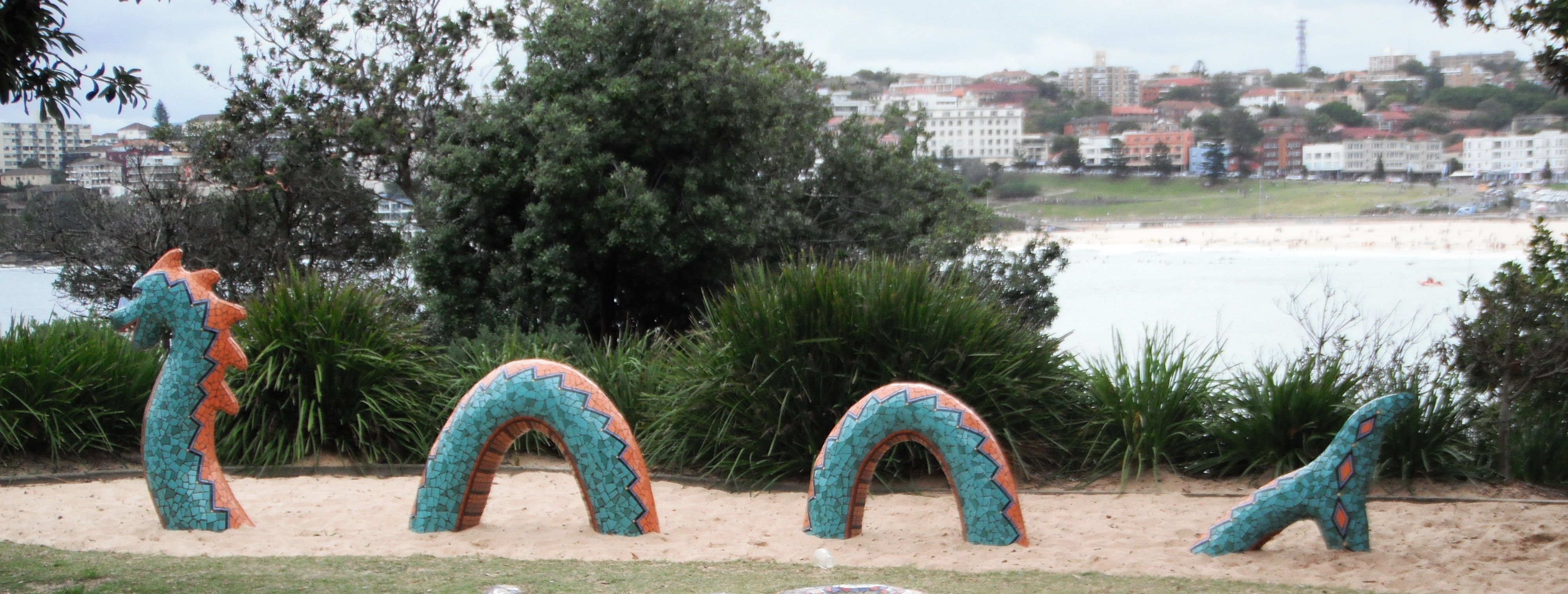 mosaic walls with found objects   Biddigal Reserve, North Bondi - Sydney