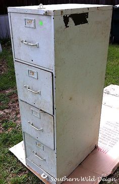 Turn An Old Metal Filing Cabinet Into A Garden Planter Go To Second Hand Office Furniture Or Thrift S Now Www Southernwilddesign For