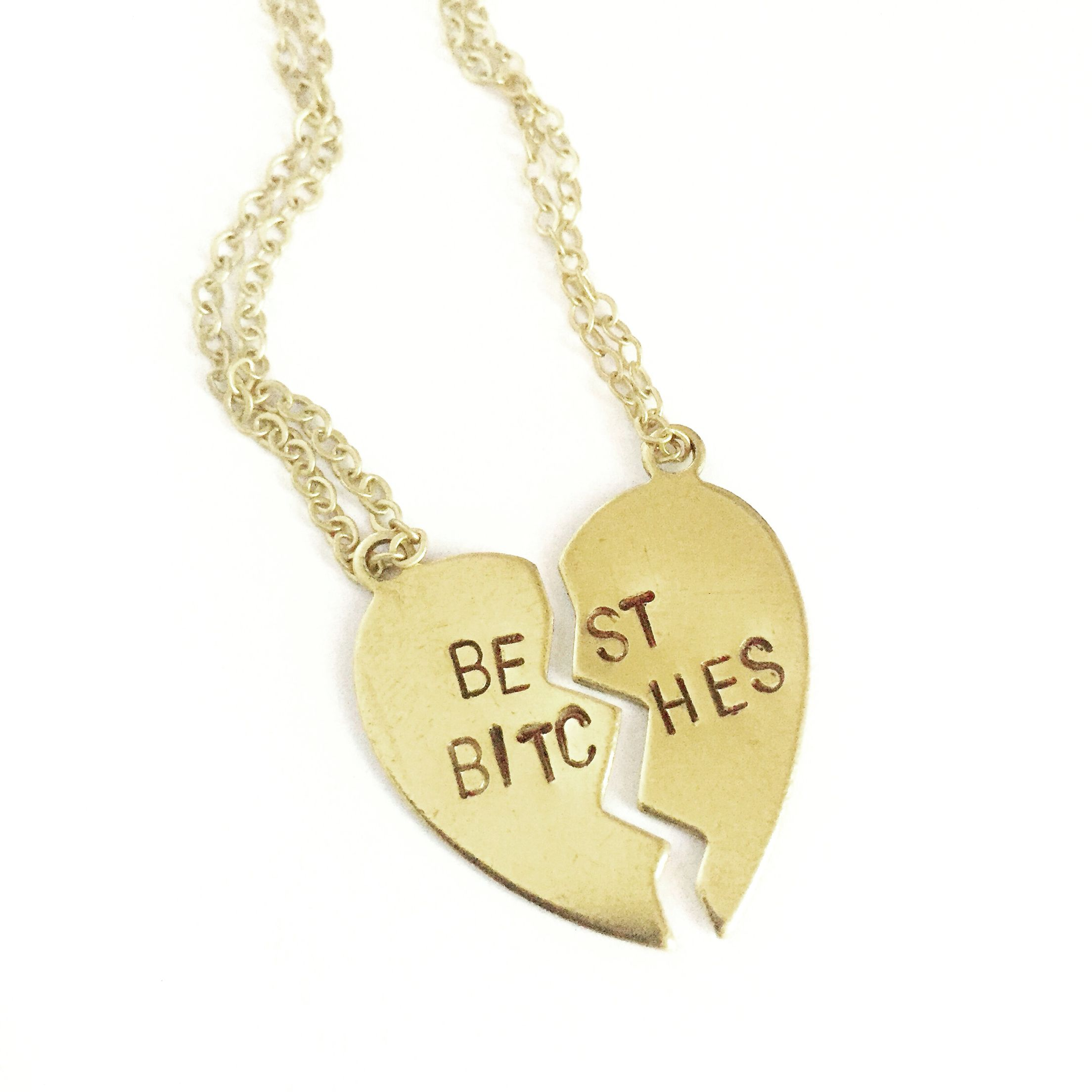 The Best #Bitches necklaces are here! Sold as a set of two and now available at GageHuntley.com. Hurry and grab you and your #bestie some hand stamped pretties.  #gagehuntley #custom #heart #necklace #bestbitches #gold #besties