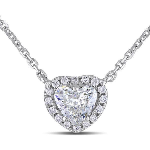 Miadora Signature Collection 14k White Gold 1/2ct TDW Diamond Heart... ($1,037) ❤ liked on Polyvore featuring jewelry, necklaces, white, white gold chain necklace, diamond pendant necklace, heart shaped diamond necklace, diamond heart necklace and 14k diamond pendant