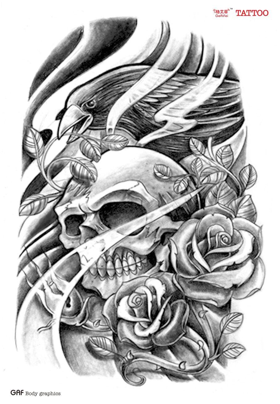 Ge Yifei Eagle Skull Tattoo Stickers Tattoo Stickers Flower Arm Tattoo Craneos Tattoo Mangas Tatuajes Tatuajes Tradicionales