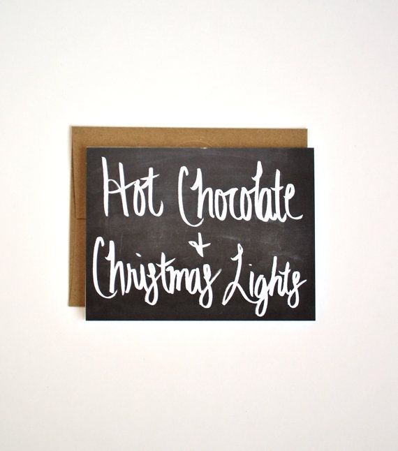 Hot Chocolate and Christmas Lights  Hand lettered Card by Floating Specks on Etsy