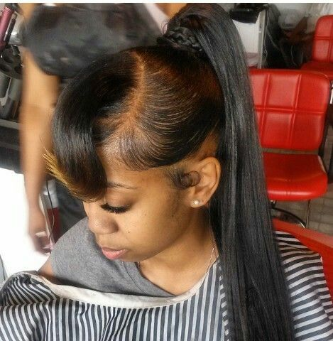 Sew In Sleek Pony For Prom Weave Ponytail Hairstyles Side