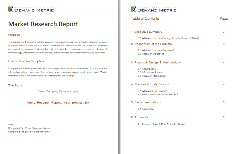 Market Research Report  A Formal Report Template That Will Help