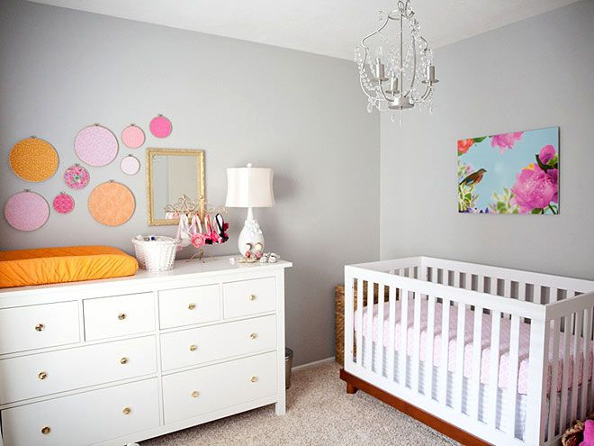 Love the dots on the wall made from pattered material and sewing loops! Project Nursery's Baby Room Trend Picks : People.com.