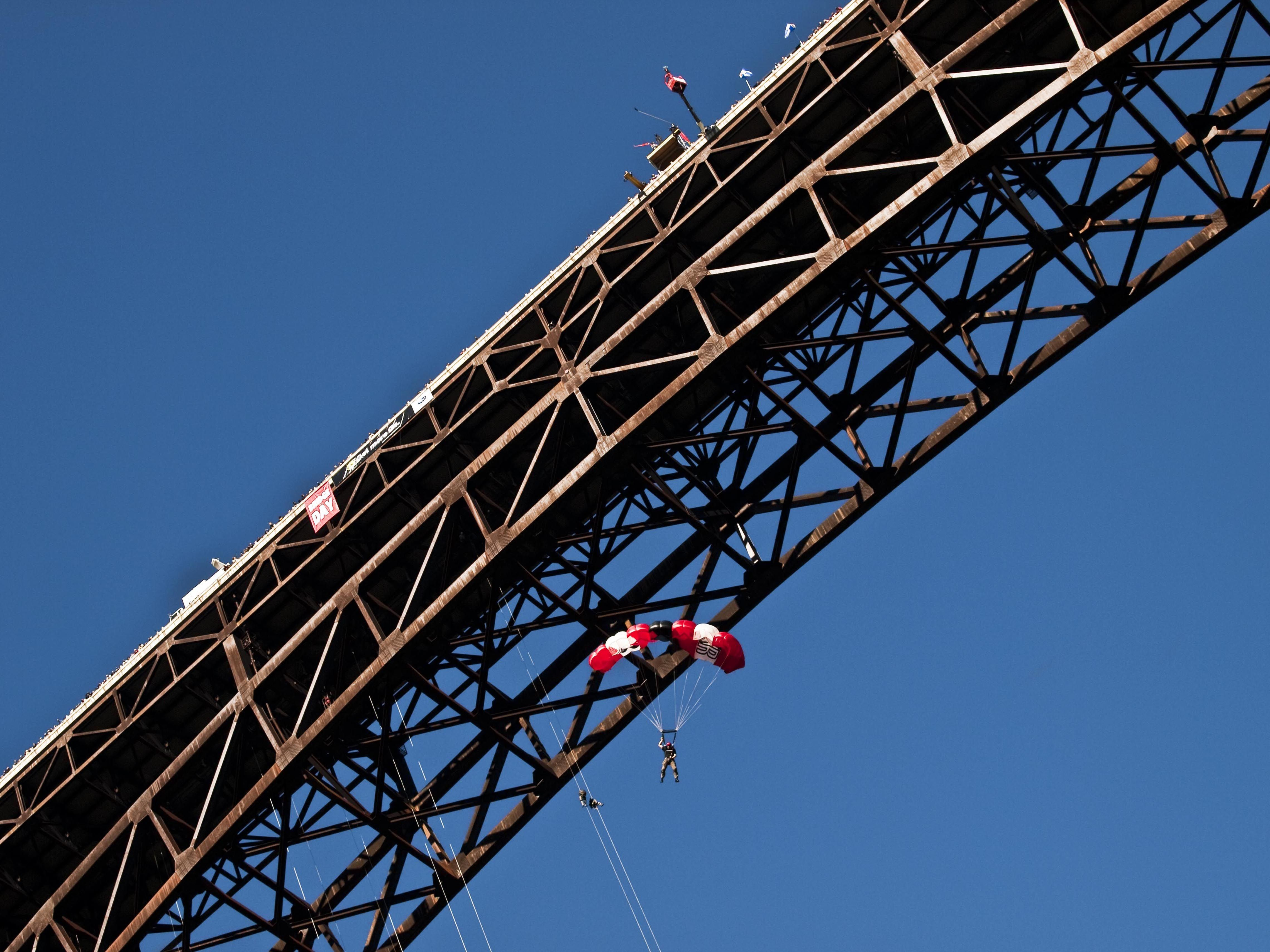 A BASE jumper takes the plunge on Bridge Day
