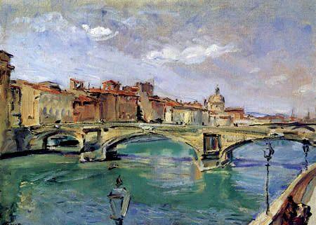 Max Slevogt - Der Brücke von Trinità, Florenz