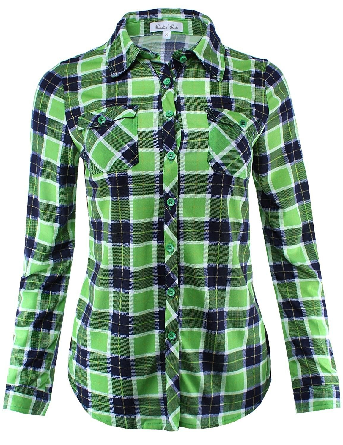 de15c302 Women's Clothing, Tops & Tees, Blouses & Button-Down Shirts, Ladies' Code Women's  Checkered Plaid Button Down Shirt Top With Roll Up Sleeves - Lctl023 Lime  ...