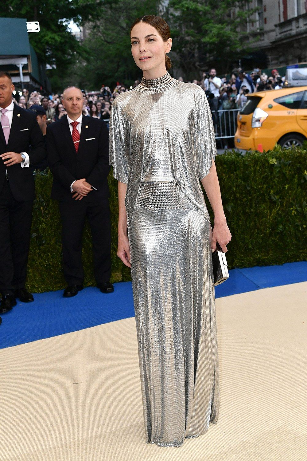 Michelle Monaghan is wearing a floor-sweeping Paco Rabanne chain mail dress designed by Met Gala first-timer Julien Dossena. The dress is evocative of Dossena's Fall 2017 collection, if slightly more demure.