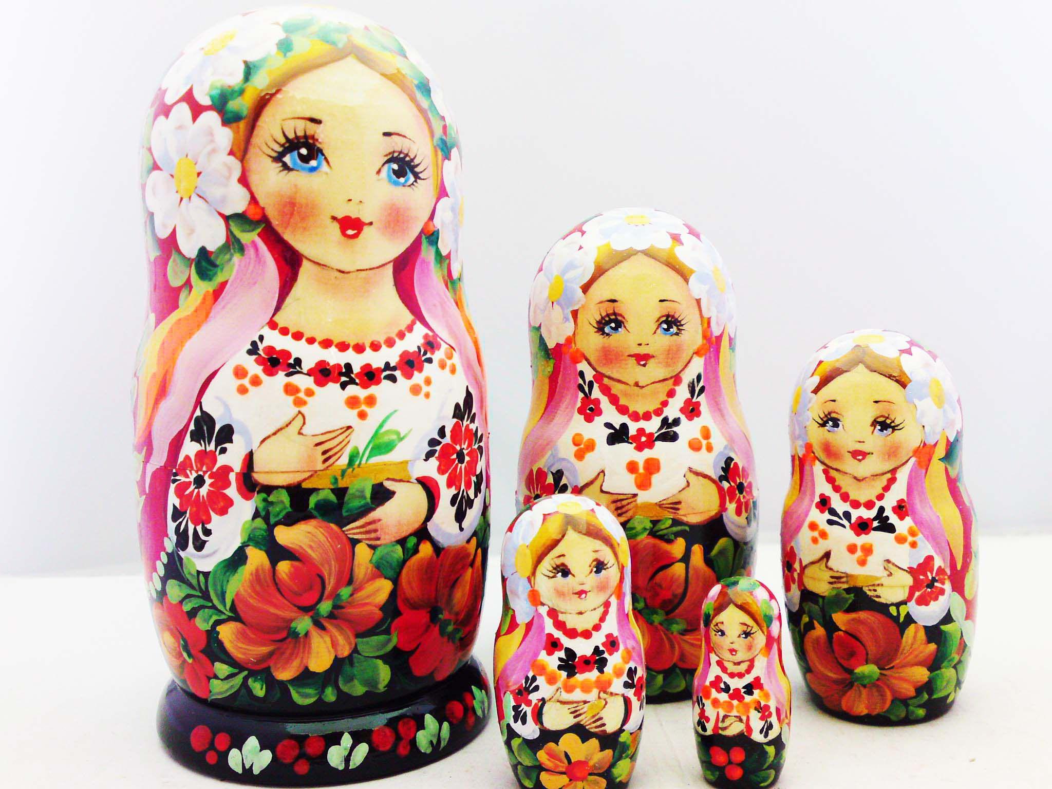 Thanksgiving Day Matryoshka Russian Nesting Dolls Babushka Matrioshka 5 Pcs