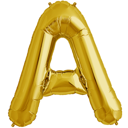34 gold letter a foil balloon 9816 ppng 500x500 for Letter balloons denver