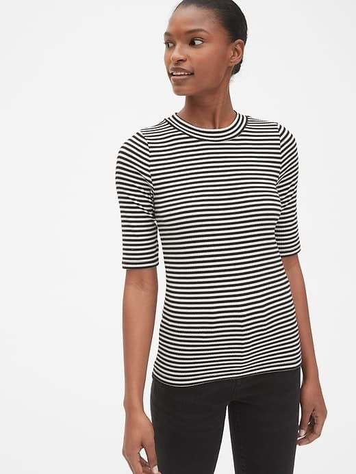 f793e04ce0e Gap Womens Modern Ribbed Mockneck Stripe T-Shirt Black Stripe in ...