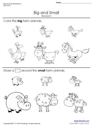 Big And Small Worksheets 3 And 4 Worksheets For Kids Kindergarten Worksheets Preschool Worksheets