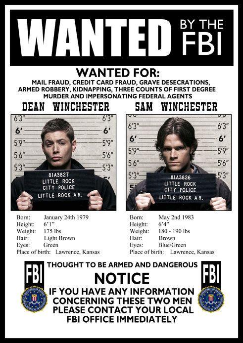 Supernatural FBI Wanted Poster