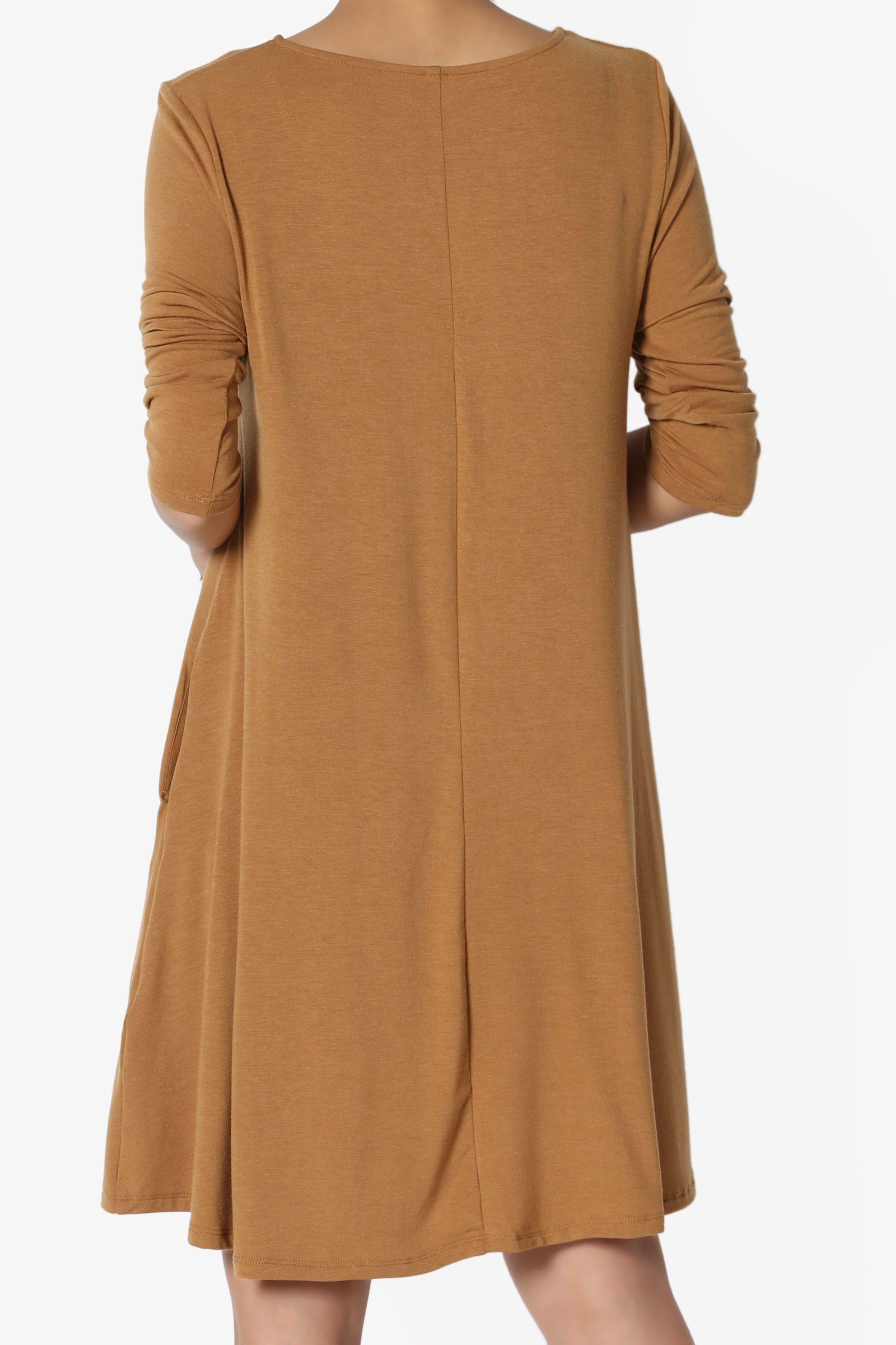 fabf66b46ef TheMogan Women s S~3XL Basic 3 4 Sleeve Swing Flared Tunic Dress Pocket Long