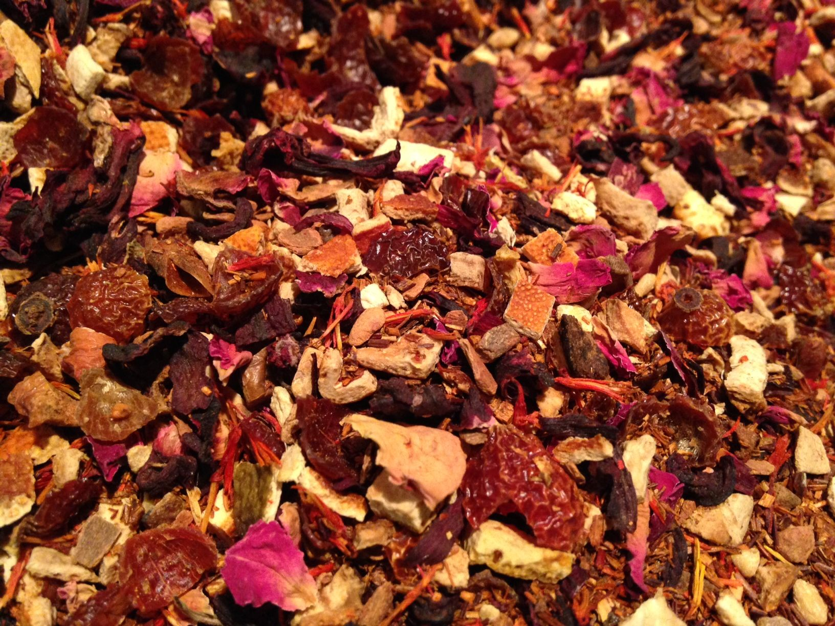 Umbutu Tea: I am Because We are. A tea to bless and amplify our connection to all of life.  Infused with Joy, Strength, and Deep Connection.  Herbal Tea Blend: Rooibos, Orange Peel, Hibiscus, Apple Pieces, Rosehips, Safflowers, Rose Petals, Vanilla, Lemon, Cinnamon, Ginger  https://www.etsy.com/listing/213219131/umbutu-tea?