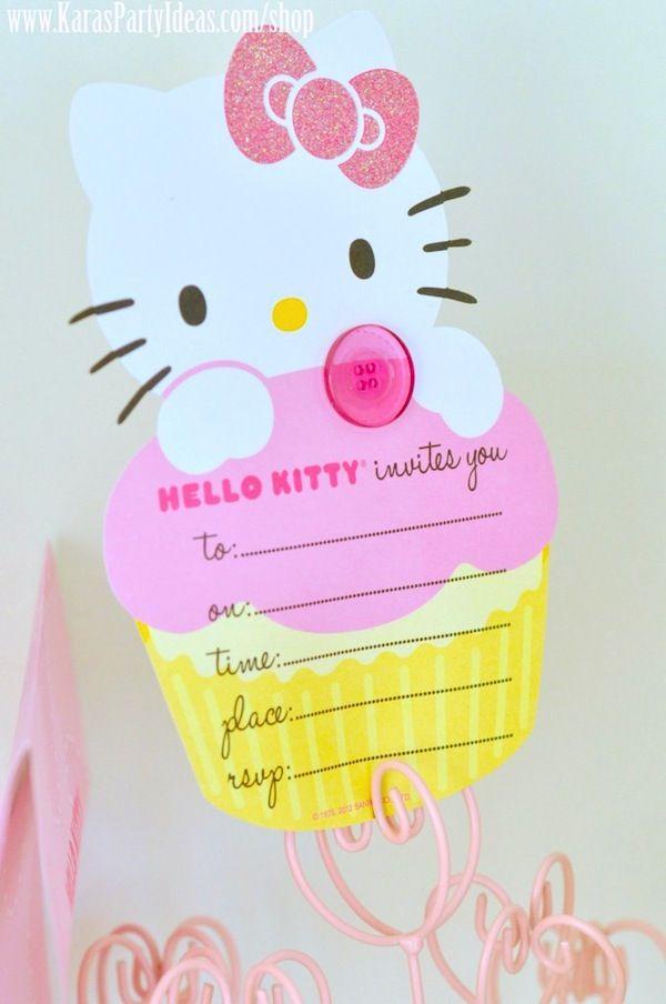 41f68caa8 party invitation for a Hello Kitty party via Kara's Party Ideas  KarasPartyIdeas.com #hellokitty #party #invitation #invite
