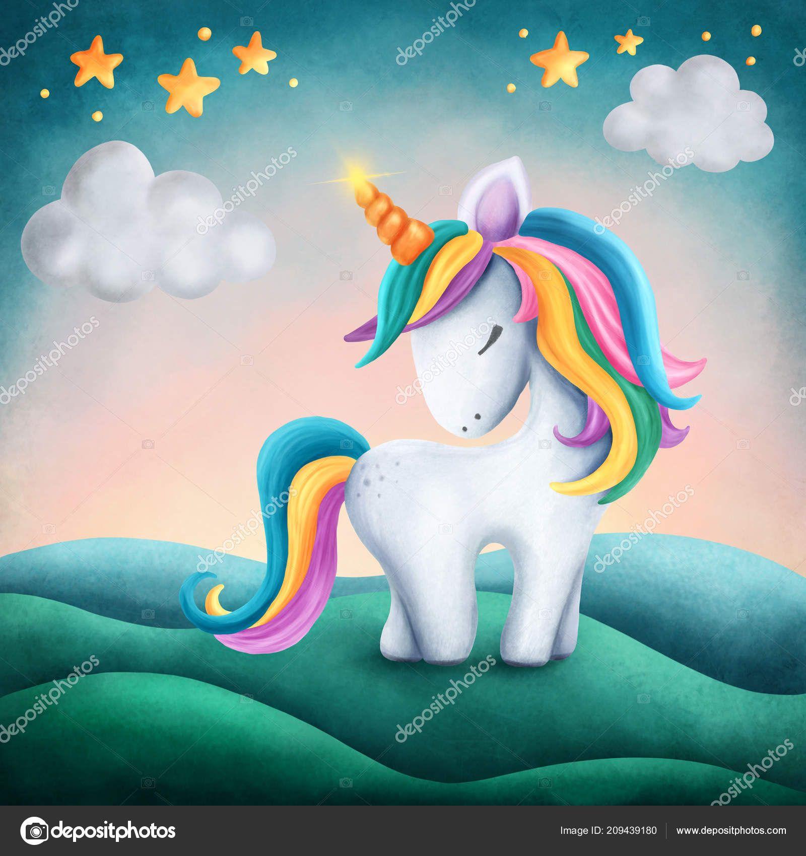 Depositphotos 209439180 Stock Photo Digital Illustration Little Cute Unicorn Jpg 1600 1700 Eenhoorn Kunst Afbeeldingen Kleurboek