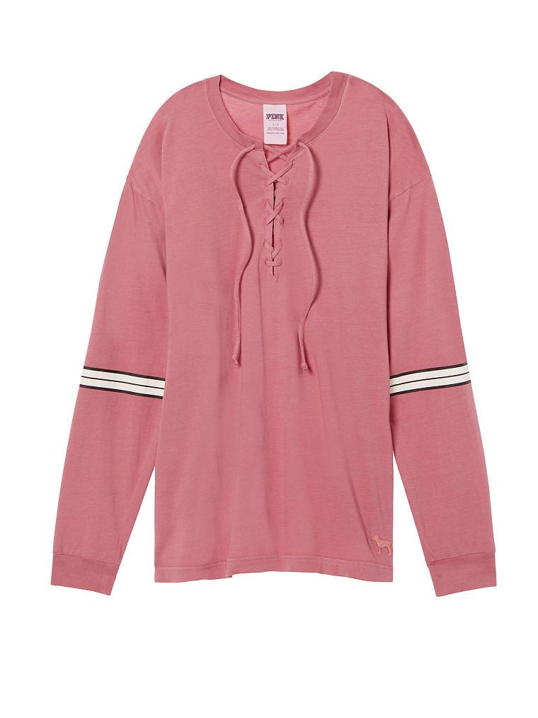 Lace-Up Long Sleeve Campus Tee - PINK - Victoria's Secret | Tops ...