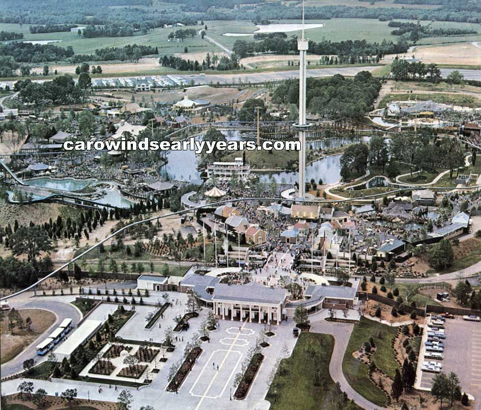 1973 aerial view of Carowinds   I LIKE CALLING NORTH ... on halloween map, knott's scary farm map, starbucks map, printable map of arden nc on map, sobe map, 2012 canada's wonderland map, carowinds map, dorney park map, paramount canada's wonderland map,