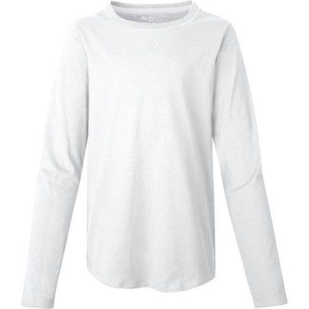 Hanes Girls` V-Notch Shirttail Long-Sleeve Crewneck T-Shirt