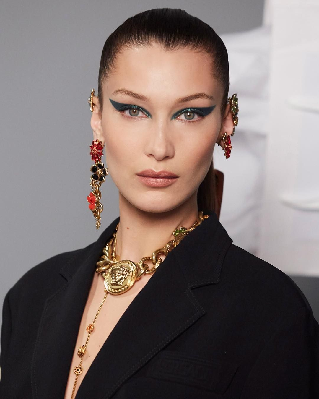 Versace On Instagram Bellahadid Adorned By The Medusa Flowers And Chains Discover Versacess19 Fashion Jewelry Now At Th Bella Hadid Hadid Fashion Makeup