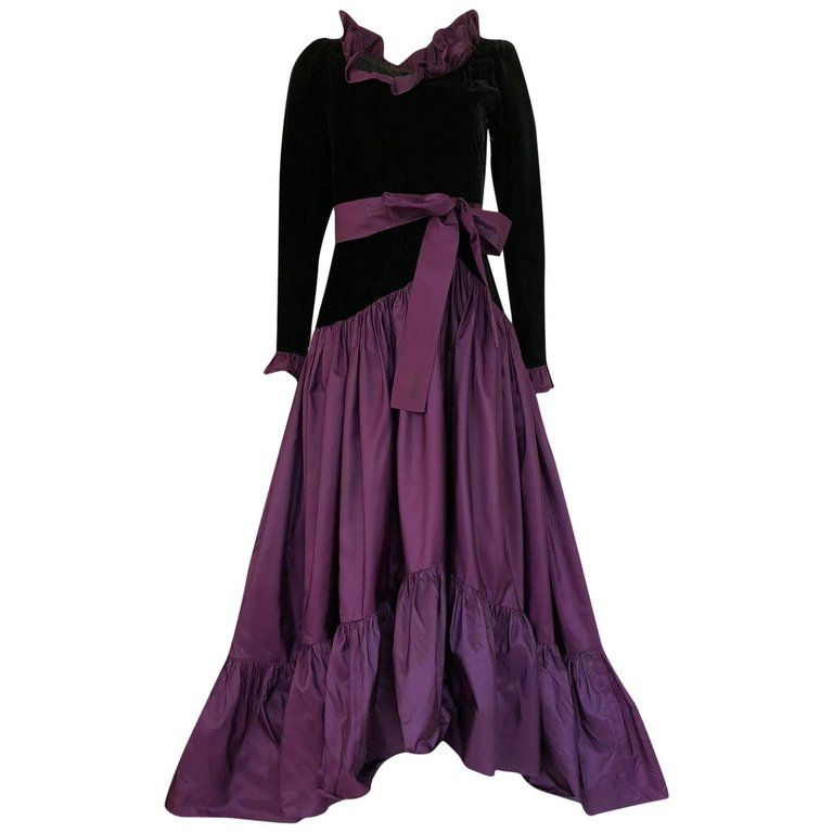 b91feb3c758 Evening Gowns Dresses · Documented 1980 Yves Saint Laurent Purple Silk  Taffeta Ruffle Dress