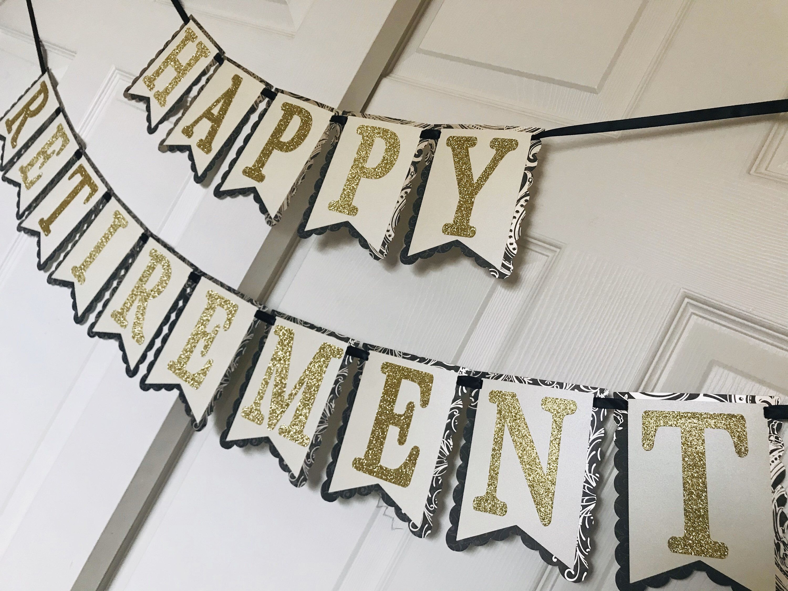 Happy Retirement Banner Retirement Party Decoration Black And