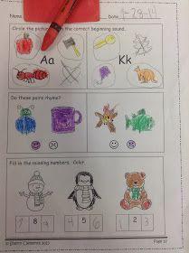 Dr. Clements' Kindergarten : Morning Work (Student samples PLUS FREEBIE)!