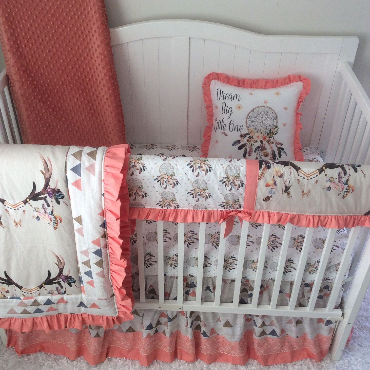 Baby Girl Crib Bedding Tan Peach Coral Blue Boho Dreamcatcher