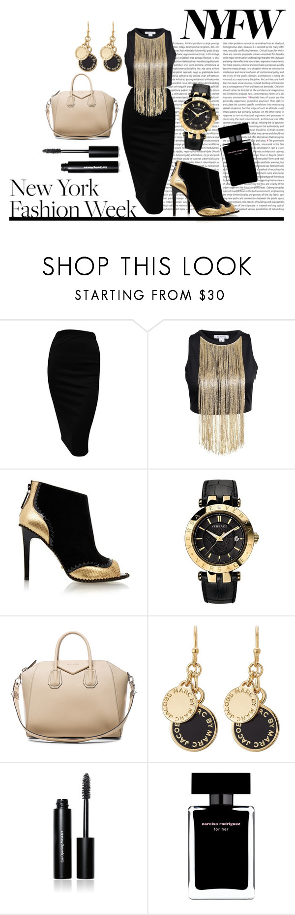 """""""Golden Girl"""" by anemone-ci ❤ liked on Polyvore featuring Kat Maconie, Versace, Givenchy, Marc by Marc Jacobs, Bobbi Brown Cosmetics, Narciso Rodriguez, women's clothing, women, female and woman"""