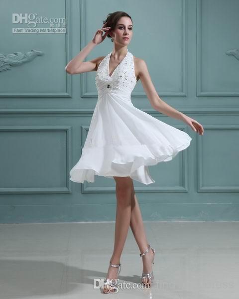 2014 Summer Short Beach Wedding Dresses Empire Waist Halter Neck
