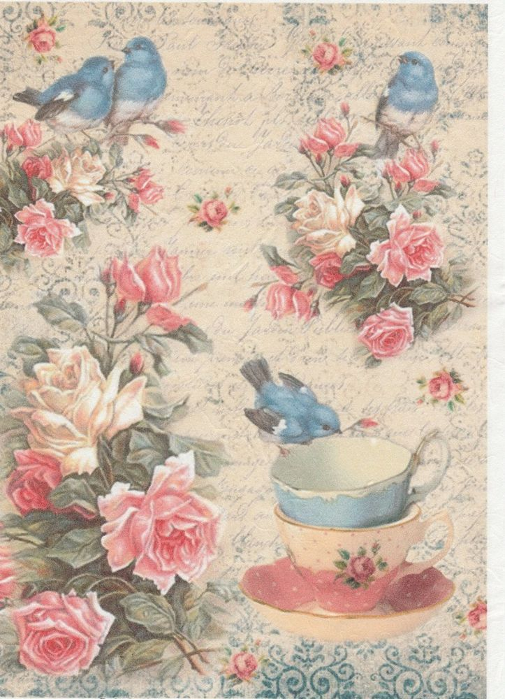 Rice Paper for Decoupage Scrapbooking Sheet Craft Vintage Roses Beauty Collage
