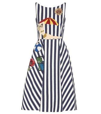 Dolce & Gabbana - Abito a righe in cotone con decorazione - mytheresa.com