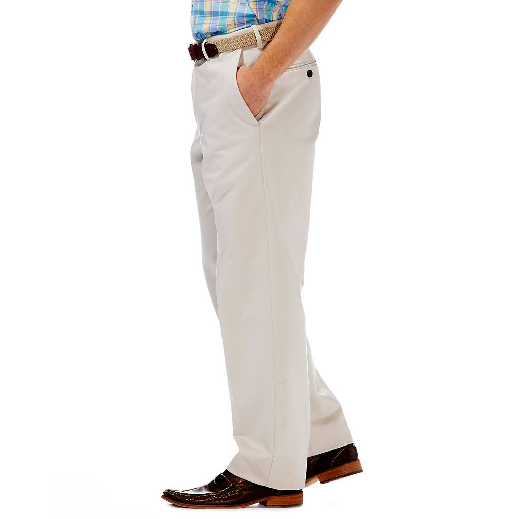 Men S Haggar Work To Weekend Classic Fit Flat Front No Iron Expandable Waist Pants Kohls Haggar Iron Pants Waist Pants