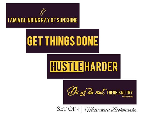 Motivational Bookmarks Set of 4 Printable Bookmarks Printable