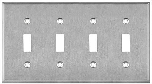 Enerlites Toggle Light Switch Metal Wall Plate Corrosive Resistant Size 4 Gang 4 50 X 8 19 7714 430 Stainless Ste In 2020 Plates On Wall Metal Walls Light Switch