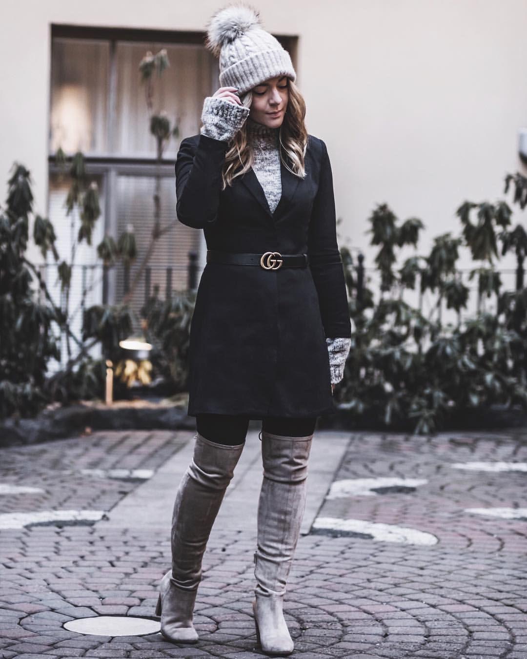 Blazer dress pom pom hat with over the knee boots
