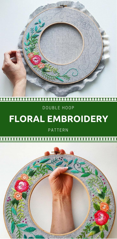Digital hand embroidery pattern rainbow roses double hoop wreath