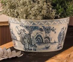 blue and white china cache pot