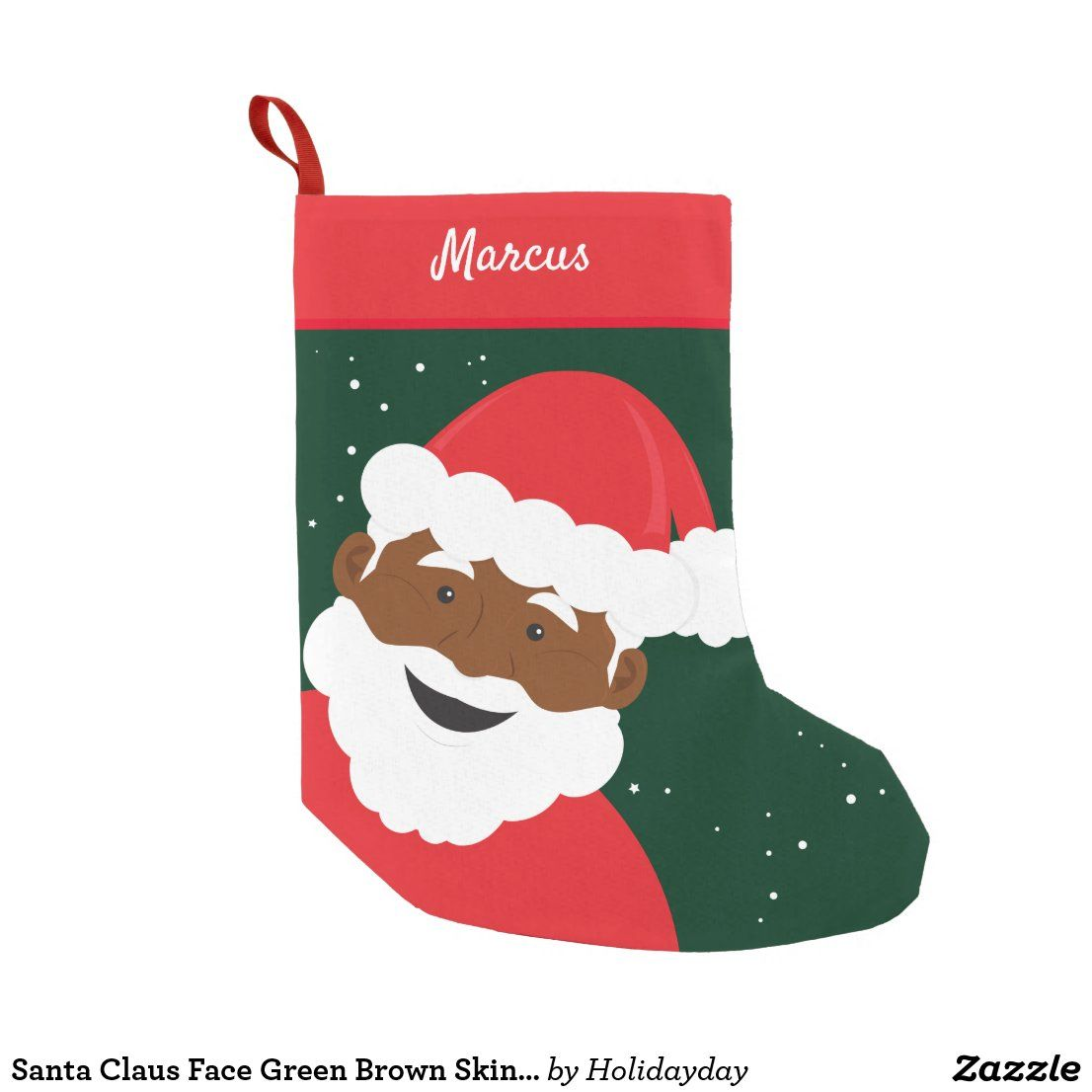 Santa Claus Face Green Brown Skin Name Small Christmas Stocking Zazzle Com Small Christmas Stockings Decorated Stockings Holiday Mantle
