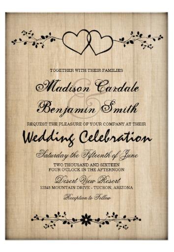 rustic vintage double hearts wedding invitations in 2018 unique